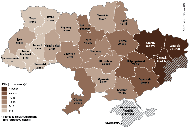 Map Distribution Of Internally Displaced Persons Idps In Ukraine