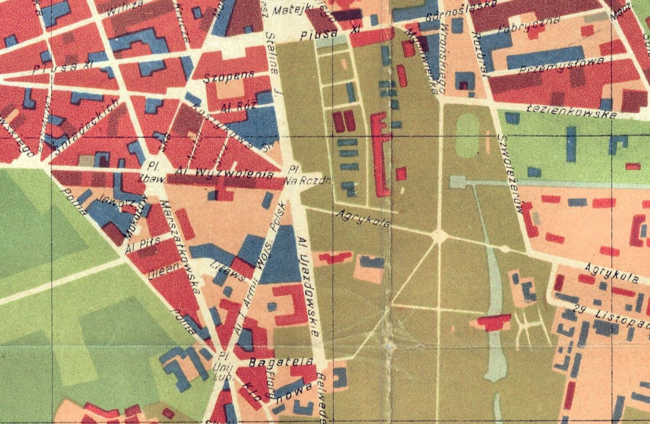 A fragment of a map of Warsaw with destructions of urban tissue marked in red