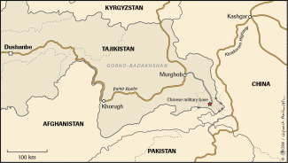 Map. China's military base on the Chinese-Afghan-Tajik frontier