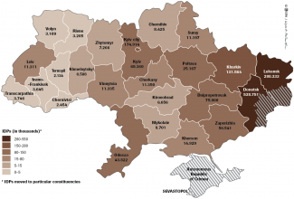Map. Manner in which IDPs are dispersed in Ukraine