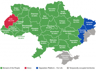 Map 1. Winners by oblasts of Ukraine from the national list
