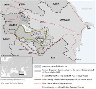 Map: Armenia and Azerbaijan. The area affected by the conflict over Nagorno-Karabakh (28 September 2020)