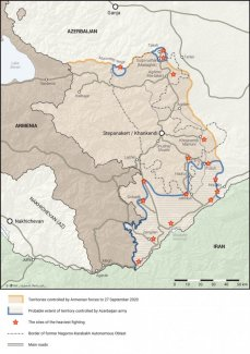 Map. Armenia and Azerbaijan. The area of the Nagorno-Karabakh conflict (as of 26 October 2020)