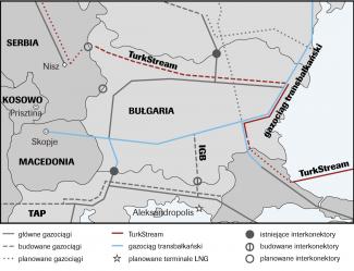 Przebieg bułgarskiego odcinka gazociągu TurkStream