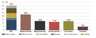 Produkcja energii elektrycznej w roku 2018 [%]