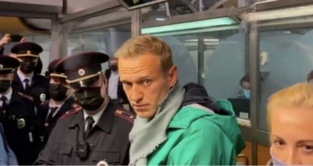 Navalny during detention (screen shot from video taken by the oppositionist's spokesperson)